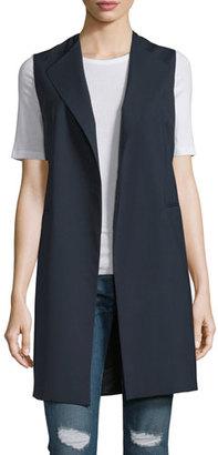 Peserico Long Lightweight Stretch-Crepe Vest, Dark Navy $435 thestylecure.com