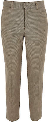 River Island Boys brown check cropped skinny pants