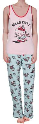 Hello Kitty Womens Juniors Hits The Slopes 3PC Printed Pajama Set M