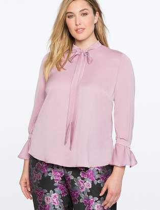 Bow Blouse with Flare Sleeve