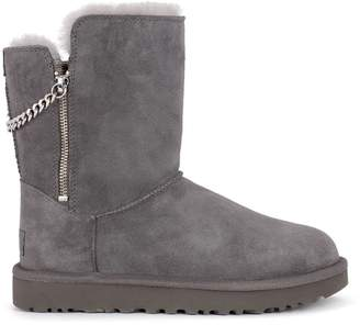 UGG Classic Short Sparkle Zip Grey Suede Ankle Boots