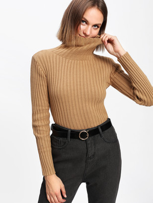 Shein Rib Knit Turtleneck Sweater