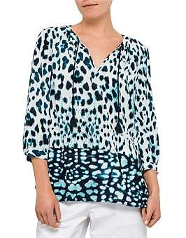 David Jones Animal Print Vented Blouse