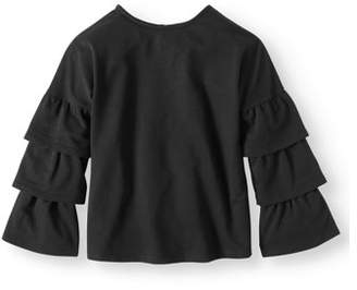 Derek Heart Ruffle Sleeve French Terry Top (Big Girls)