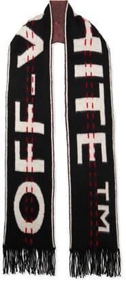 Off-White Intarsia Wool-blend Scarf - Black