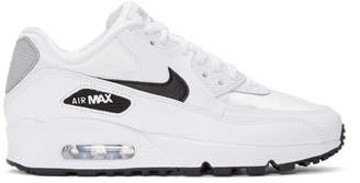 Nike White and Silver Air Max 90 Sneakers