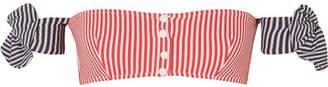 Solid & Striped The Mackenzie Striped Seersucker Bikini Top - Red