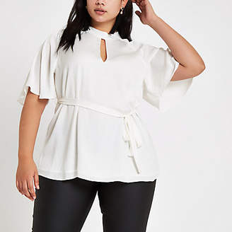 River Island Plus cream high neck tie waist top