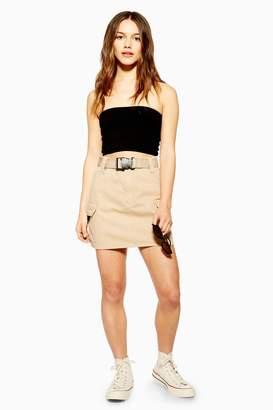 Topshop Womens Petite Stone Clip Belted Denim Mini Skirt - Stone