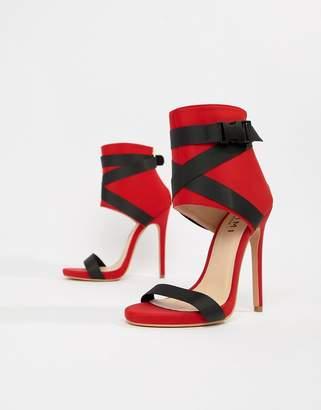 SIMMI Shoes Simmi London Jamilla red buckle detail stiletto boots