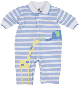 Florence Eiseman Elephant & Giraffe Striped Polo Coverall, Size 3-12 Months