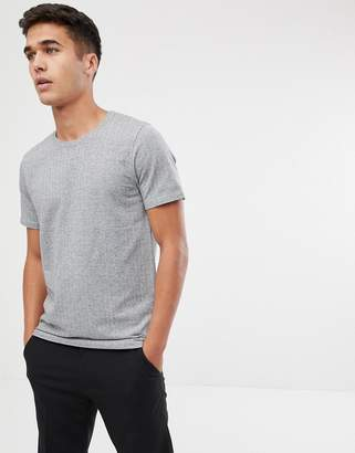 Selected t-shirt with herringbone jacquard