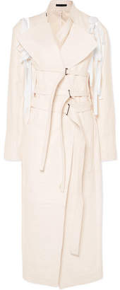 Ann Demeulemeester Belted Leather Jacket - White