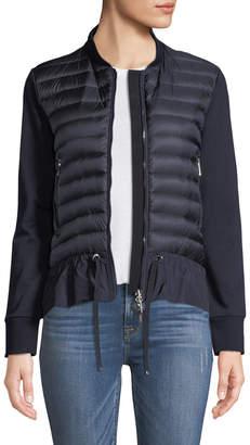 Moncler Maglia Knit Puffer Combo Jacket w/ Peplum Hem