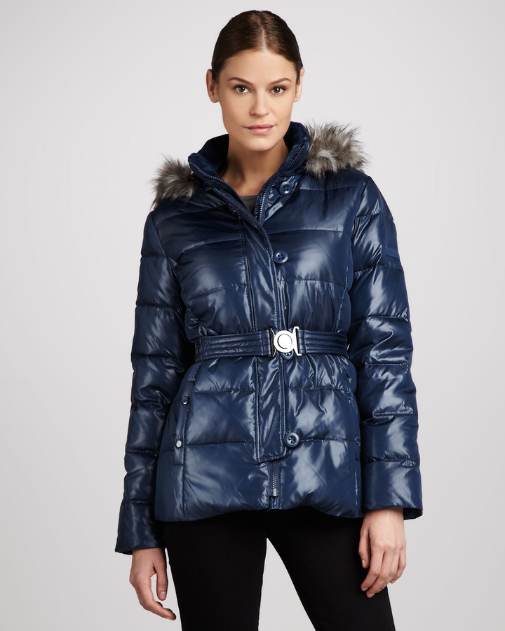 DKNY Faux Fur-Trim Puffer Parka