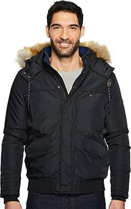 Tommy Hilfiger Men's Technical Bomber Jacket with Faux Fur Hood