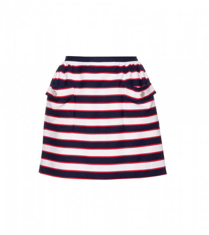 Valentino Striped wool and silk-blend mini skirt