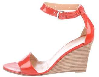Hermes Patent Leather Ankle-Strap Wedges
