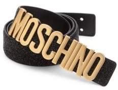 Moschino Glitter Leather Logo Belt