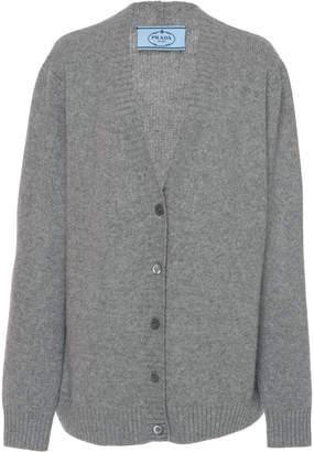 Prada Rib Knit Cotton V-Neck Cardigan