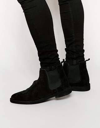 Asos Design Chelsea Desert Boots in Black Suede