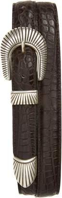 Eleventy Croc Embossed Leather Belt