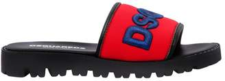 DSQUARED2 Logo Embroidered Neoprene Slide Sandals