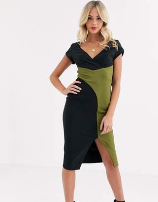 Paper Dolls wrap midi dress with split in black and olive