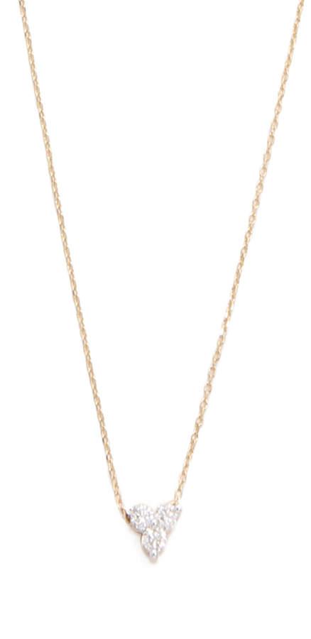 14k Gold Diamond Cluster Necklace