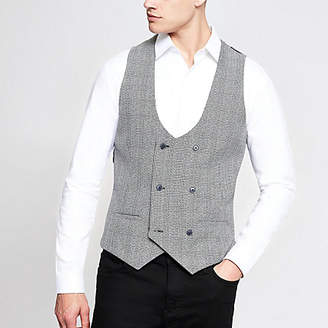 River Island Black check double breast waistcoat