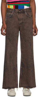 Marni Brown Over-Dyed Bleached Jeans