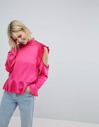 Asos Satin Ruffle Top with Cold Shoulder