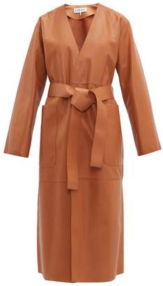 Loewe Belted Leather Coat - Womens - Brown