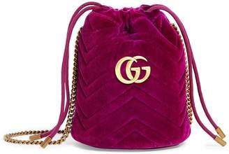 Gucci Mini Velvet GG Marmont Bucket Bag