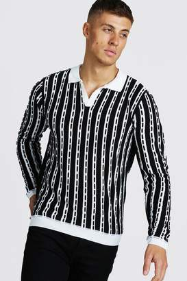 boohoo Regular Fit Long Sleeve Collar Knitted Polo