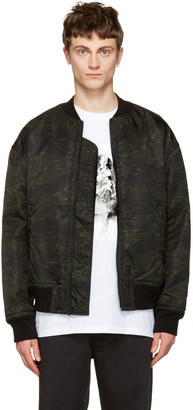 T by Alexander Wang Green Camo Back Insert Bomber Jacket $495 thestylecure.com