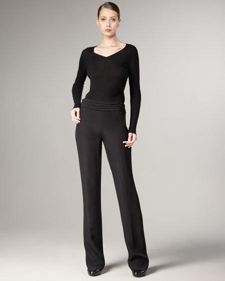 Armani Collezioni Pintuck-Waist Trousers