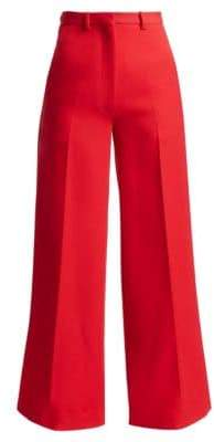 Victoria Beckham Wool High-Waist Wide Leg Trousers