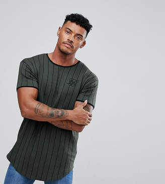 SikSilk Muscle T-Shirt In Khaki Stripe
