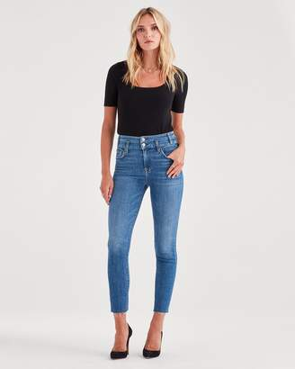 7 For All Mankind High Waist Roxanne Ankle with Double Waistband & Cut Off Hem in Desert Oasis