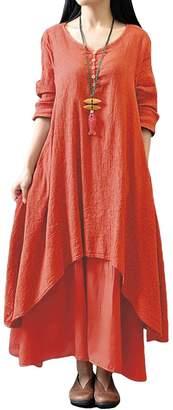 Romacci Women Casual Loose Dress Boho Long Maxi Dress
