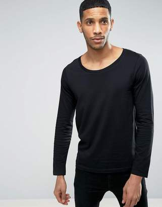 Asos DESIGN long sleeve t-shirt with scoop neck in black