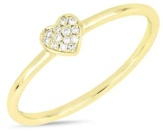 Bony Levy 18K Yellow Gold Pave Diamond Heart Stackable Ring - 0.04 ctw