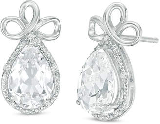 Zales Pear-Shaped Lab-Created White Topaz and 1/20 CT. T.W. Diamond Frame Triple Loop Ribbon Drop Earrings in 10K White Gold