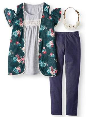 FOREVER ME Cold Shoulder Printed Sweater Knit 2Fer & Knit Denim Legging, 2-Piece Outfit Set with Flower Headband (Little Girls & Big Girls)