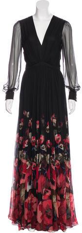GucciGucci Silk Chiffon Oshibana Gown