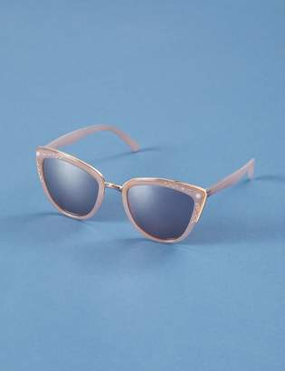 Lane Bryant Blush Cateye Sunglasses with Faux Pearl & Pave