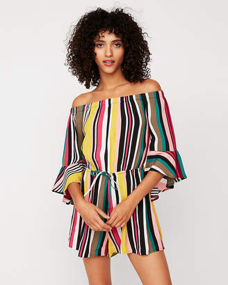 Express Petite Striped Off The Shoulder Bell Sleeve Romper