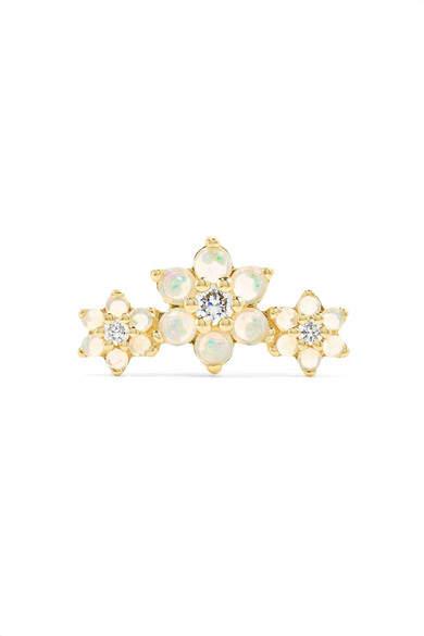 Maria Tash - Flower Garland 14-karat Gold, Opal And Diamond Earring