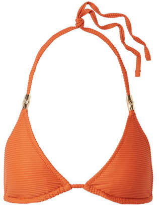 Heidi Klein Textured Triangle Bikini Top - Orange